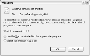 Double-click a file of an unknown type (unfamiliar filename extension), and Windows will display this dialog asking what to do