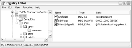 The second Registry key contains the file-type information; several file-extension keys can point to this key