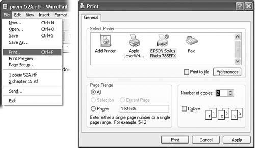 "Here's how you might print two copies of a document without using the mouse at all. First, press Alt+F, which opens the File menu (left). Then type the letter P, which represents the Print command. Now the Print dialog box appears (right); press Alt+C to highlight the Copies box; type the number of copies you want; and then press the Enter key to ""click"" the Print button. (The Enter key always means, ""Click the default button in the dialog box—the one with a shadowed border."")"