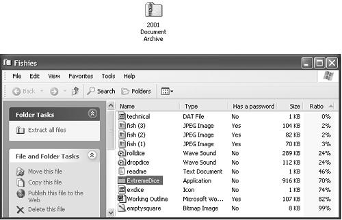 Top: A Zip archive looks just like an ordinary folder—except for the tiny little zipper. Bottom: Double-click one to open its window and see what's inside. Notice (in the Ratio column) that JPEG graphics and GIF graphics usually don't become much smaller than they were before zipping, since they're already compressed formats. But word processing files, program files, and other file types reveal quite a bit of shrinkage.