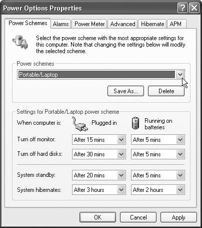 The Power Options program is a shape-shifter, meaning which set of tabs it has, and which controls are available on each one, vary from one PC to the next. Some of these tabs appear only if you have a laptop (or a UPS—an uninterruptible power supply). Others depend on how new the PC is, and which version of the standard power-management circuitry it contains.
