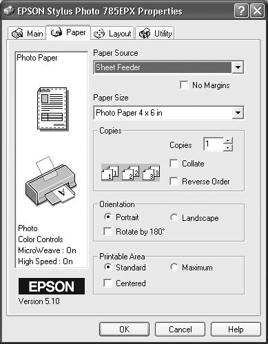"When you choose Properties from the Print dialog box, you can specify the paper size you're using, whether you want to print sideways on the page (""Landscape"" orientation), what kind of photo paper you're using, and so on. Here, you're making changes only for a particular printout; you're not changing any settings for the printer itself."