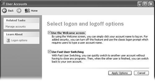 These two options have enormous ramifications. The first governs the appearance of the Welcome screen shown in Figure 16-8. The second lets one person duck into his own account without forcing you to log off, as described on Section 16-6. These options are related—you can't turn off the first without first turning off the second.