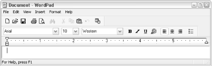 Wordpad's toolbar provides access to eleven of the most commonly used functions, such as Open, Save, Print, and Find