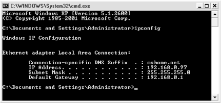 Some tools can be used only at the Command Prompt, such as the Windows IP Configuration utility
