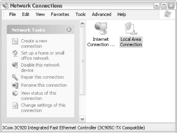 Use the Network Connections window to set up your network
