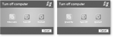 "Left: The Stand By button changes to a Hibernate button (right) when you press Shift. Right: To use hibernation, you need a little room on your hard disk because that's where Windows XP stores everything you want to leave open. To find out whether you've got the room, choose Start → Control Panel → Power Options, then click the Hibernate tab—which has a ""Disk space for hibernation"" section that does the math for you."