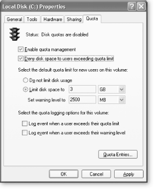 You can limit the amount of storage each person who uses the computer gets, and even set warning levels so Windows will warn folks ahead of time when they approach their limit. Go a step further and have Windows create a log that tracks when anyone's account reaches its warning level or quota.