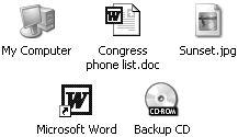 Your Windows world revolves around icons, the tiny pictures that represent your programs, documents, and various Windows components. From left to right: the icons for your computer itself, a word processing document, a digital photo (a JPEG document), a word processor program (Word), and a CD-ROM inserted into your computer.
