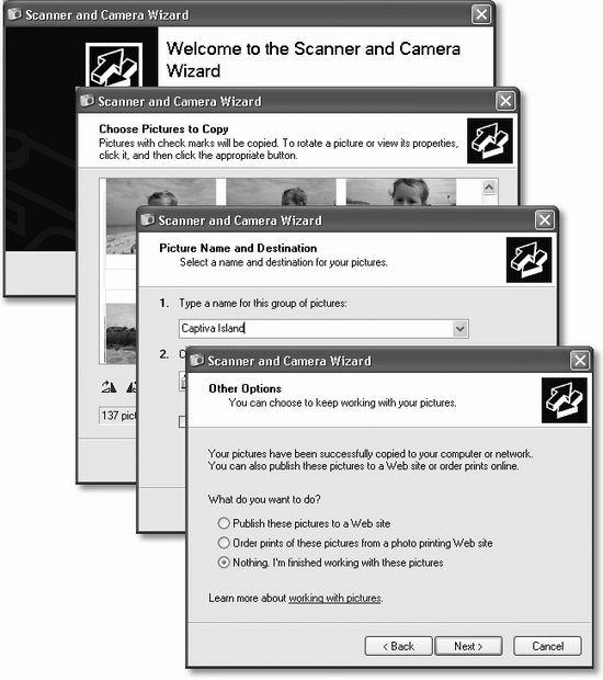 Wizards (interview screens) are everywhere in Windows. On each of the screens, you're supposed to answer a question about your computer or your preferences, and then click a Next button. When you click the Finish button on the final screen, Windows whirls into action, automatically completing the installation or setup.