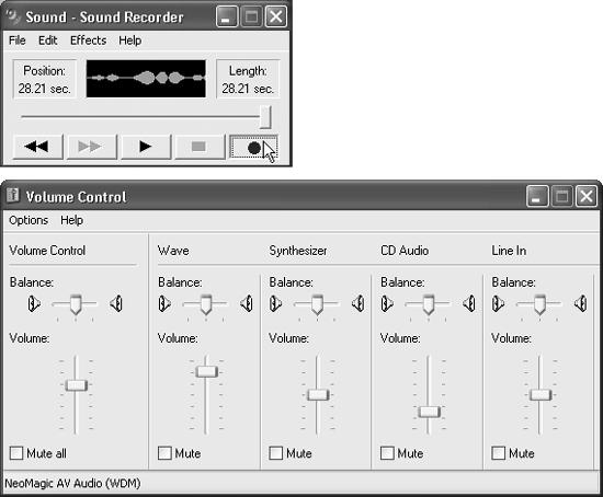 Sound Recorder (top) lets you capture the sounds of your world—digitally. Volume Control (bottom) offers left-to-right stereo balance controls and volume adjustments for every sound-related component of your PC.