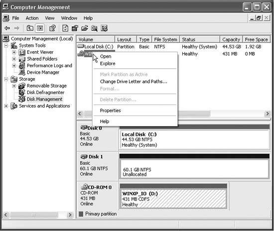 The Drive Management window is part of the much bigger, much more technical entity known as the Computer Management console. You access it by clicking Disk Management (in the left-side pane). Then you can operate on your drives by right-clicking them. Don't miss the View menu, by the way, which lets you change either the top or the bottom display. For example, you can make them display all of your disks instead of your volumes (there's a difference).