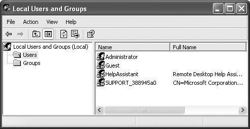 Local Users and Groups is a Microsoft Management Console (MMC) snap-in. MMC is a shell program that lets you run most of Windows XP's system administration applications. An MMC snap-in typically has two panes. You select an item in the left (scope) pane to see information about it displayed in the right (detail) pane.