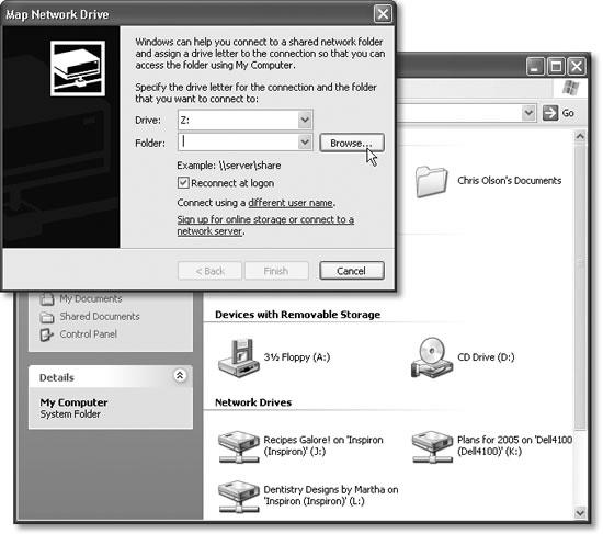 "Top: The ""Reconnect at logon"" option tells Windows to locate the share and map this drive letter to it every time you start your computer. Bottom: Once you've mapped a few folders or disks to their own letters, they show up in the Network Drives group within your My Computer window. (Note the drive letters in parentheses—in this example, J:, K:, and L:.)"