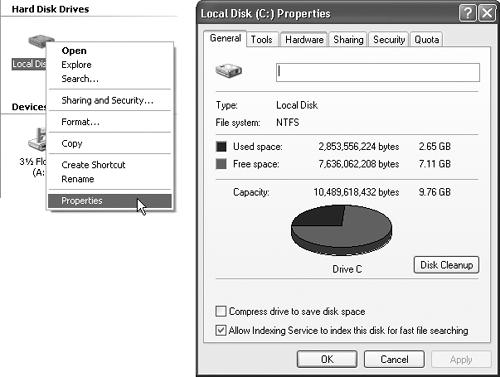 One quick way to find out how much space is left on your hard drive is to right-click the corresponding icon and choose the Properties command (left). The Properties dialog box appears (right), featuring a handy disk-space graph.