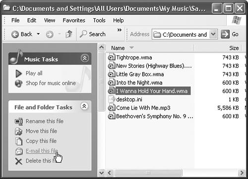 "The new task pane commands are sometimes extremely useful (""Set as desktop background"" when you click a picture file). Other times, they're invitations to send money to Microsoft and its partners (""Shop for music online,"" ""Order prints online""). In any folder containing photo or music files, like the MP3 files shown here, controls appear that let you conduct a slide show, or a concert of your MP3 files, right there on the desktop."