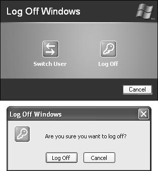 Top: On workgroup computers, if Fast User Switching is turned on, this is what you see when you choose Start→Log Off. No matter which button you click, you return to the Welcome screen. The only difference is that clicking the Switch User button leaves all of your programs open and in memory, and the Log Off button takes a few moments to close them. Bottom: On domain-network computers (or any computer where Fast User Switching is turned off), a dialog box like this appears when you choose Start→Log Off. If you click the Log Off button, Windows quits your programs and then takes you to the Classic Logon dialog box.