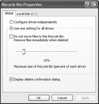 "Use the Recycle Bin Properties dialog box to govern the way the Recycle Bin works, or even if it works at all. If you have multiple hard drives, the dialog box offers a tab for each of them so you can configure a separate and independent Recycle Bin on each drive. To configure the Recycle Bin separately for each drive, select the ""Configure drives independently"" option."