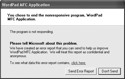 UP TO SPEEDSending an Error Report to Microsoft