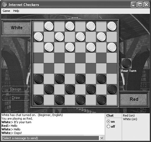 It may look like a simple game of checkers, but you're actually witnessing a spectacular feature of Windows XP: instantaneous anonymous Internet gaming. Two Internet visitors in search of recreation have made contact, a game board has appeared, and the game is under way. The Chat window sits below the game board. You can even turn Chat off if you're planning to play a cutthroat game and don't want to fake having friendly feelings toward your opponent.