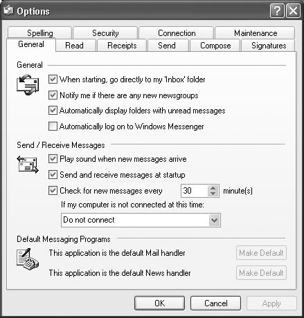 The Options dialog box has ten tabs, each loaded with options. Most tabs have buttons that open additional dialog boxes. Coming in 2006: Outlook Express Options: The Missing Manual.
