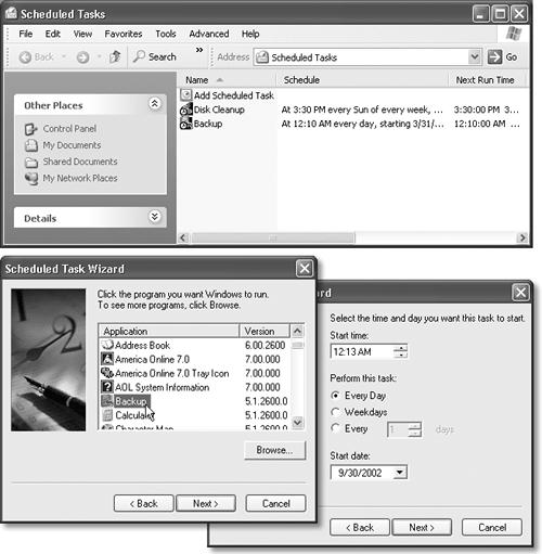 Top: The Task Scheduler keeps a calendar for Windows XP. Tasks appear in the schedule when you enter them manually, or when other programs (such as the Maintenance Wizard) set them up. You can use the Task Scheduler window to add, modify, or remove tasks. (Make sure your computer is turned on during the time any task is supposed to run.) Bottom: The wizard asks you what you want to open, and how often.