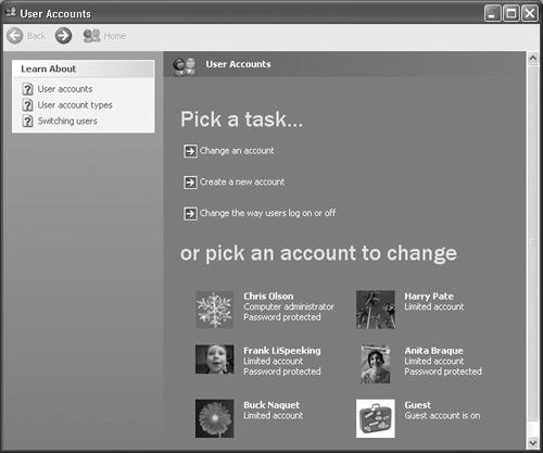 "This screen lists everyone for whom you've created an account. From here, you can create new accounts or change people's passwords. (Hint: To change account settings, just click the person's name on the bottom half of the screen. Clicking the ""Change an account"" link at top requires an extra, redundant click.)"