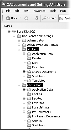 Behind the scenes, Windows XP maintains another profile folder, whose subfolders closely parallel those in your own. What you see—the contents of the Start menu, Desktop, Shared Documents folder, Favorites list, Templates folder, and so on—is a combination of what's in your own user profile folder and what's in the All Users folder.