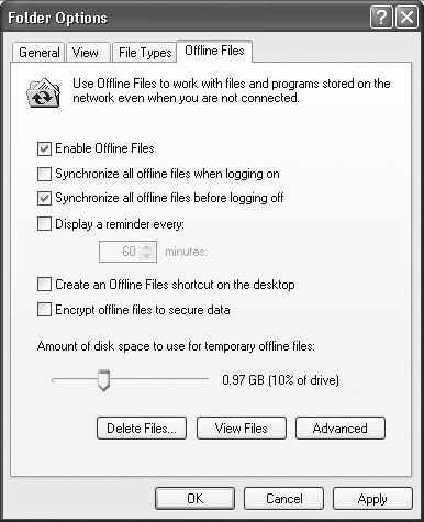 You must turn on Enable Offline Files to activate this feature. This is also your opportunity to specify when the synchronizing takes place, so that the process is automated and the files are kept up-to-date on both your hard drive and the network.