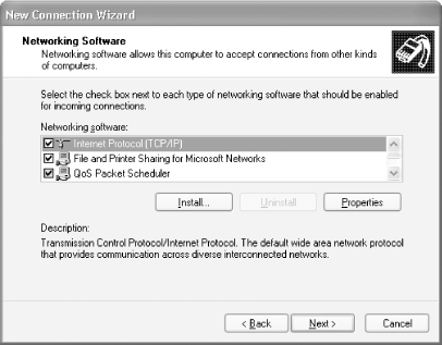 Installing the networking software for the VPN connection