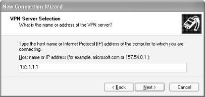 Specifying the IP address of the VPN host