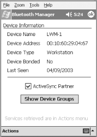 Configuring a Bluetooth device as an ActiveSync partner