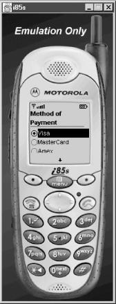 PaymentMIDlet on the Motorola i85s