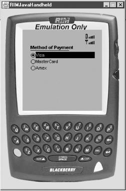 PaymentMIDlet running on RIM's BlackBerry
