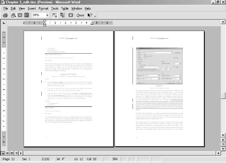 Viewing a document in Print Preview mode