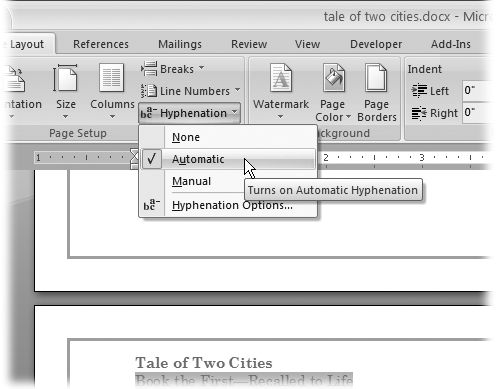 Choose Automatic From The Hyphenation Menu And Word Takes Care Of All Decisions