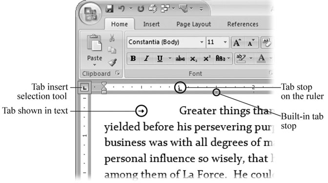 Tabs are just white space in your text, but for Word, they're these little arrow characters that position your text on the line. You can change your Word Options (Office button → Word Options → Display) to show tabs on your screen.