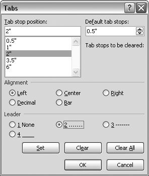 The Tabs box puts you in complete control of all things tabular. When you select a specific tab in the upper-left box, you can customize its alignment and leader characters.