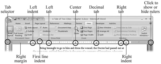 Word's ruler provides lots of information about the formatting of the current paragraph, that is, the paragraph that contains the insertion point. Use the button just above the scroll bar for a quick way to show and hide your ruler.