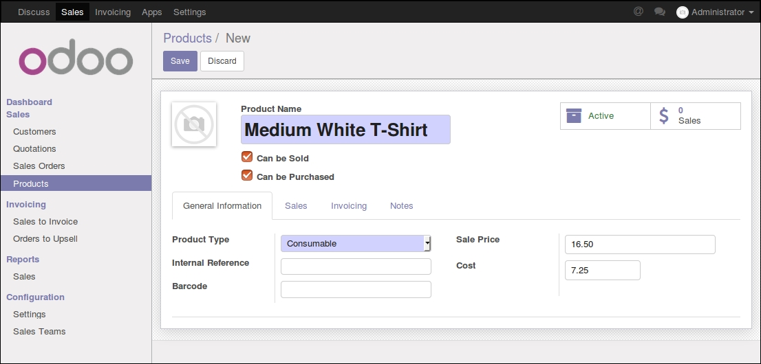 Creating products in Odoo