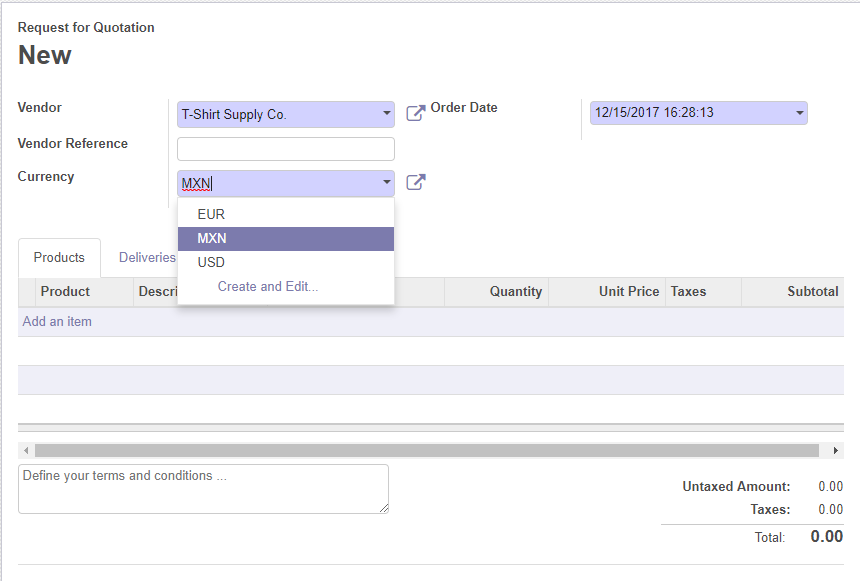 Purchasing in a different currency - Working with Odoo 11