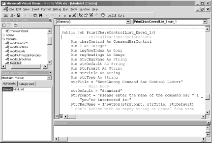 The Excel VBA IDE