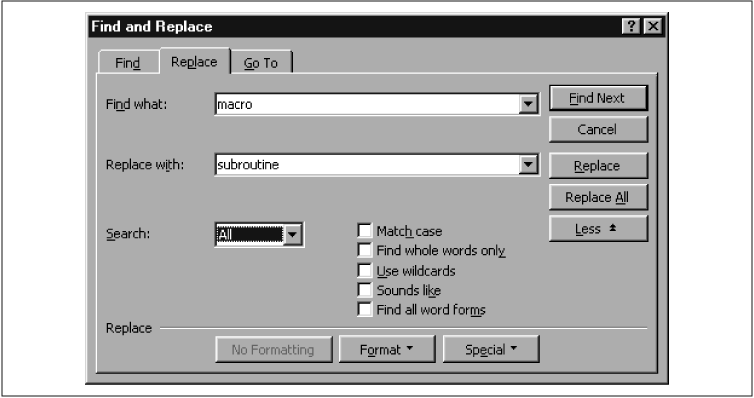 The Find and Replace dialog box