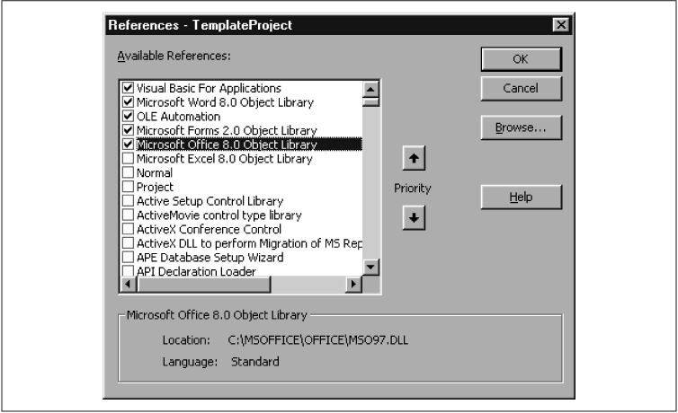 The References dialog box