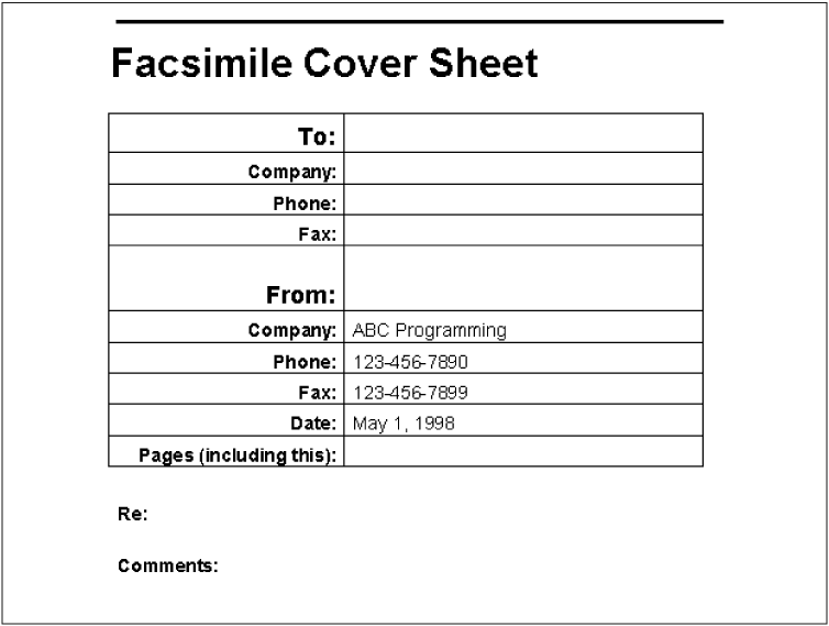A Fax Cover Sheet  Fax Word Template
