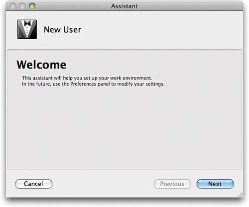 The New User Assistant. The dialog panels in this assistant capture your preferences the first time you run Xcode.