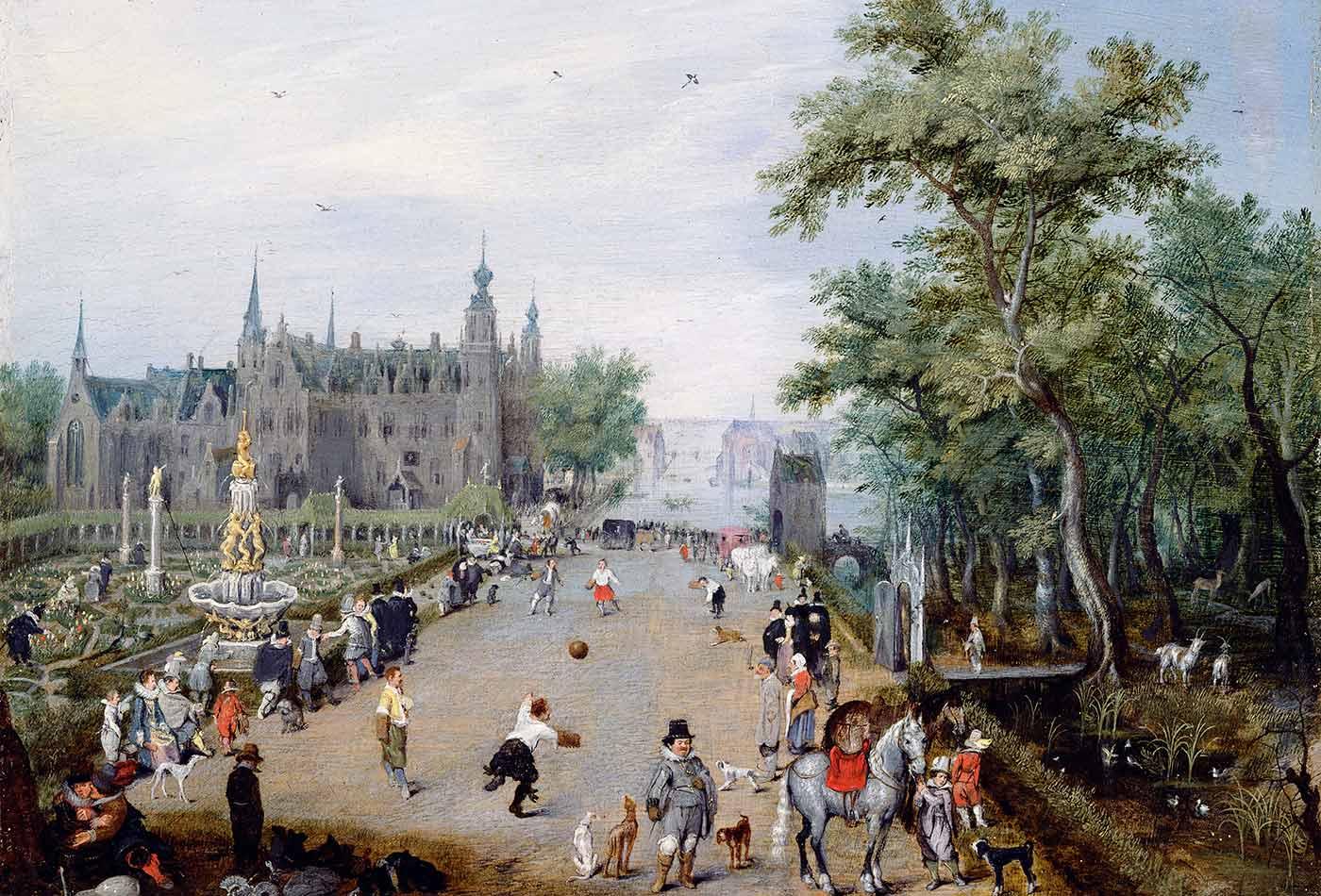 A Jeu de Paume Before a Country Palace, by Adriaen van de Venne, 1614.