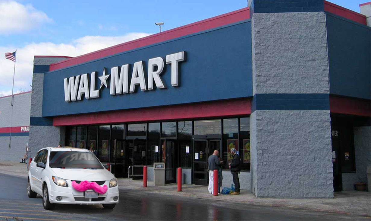 Photo illustration of a Lyft car in front of a Walmart