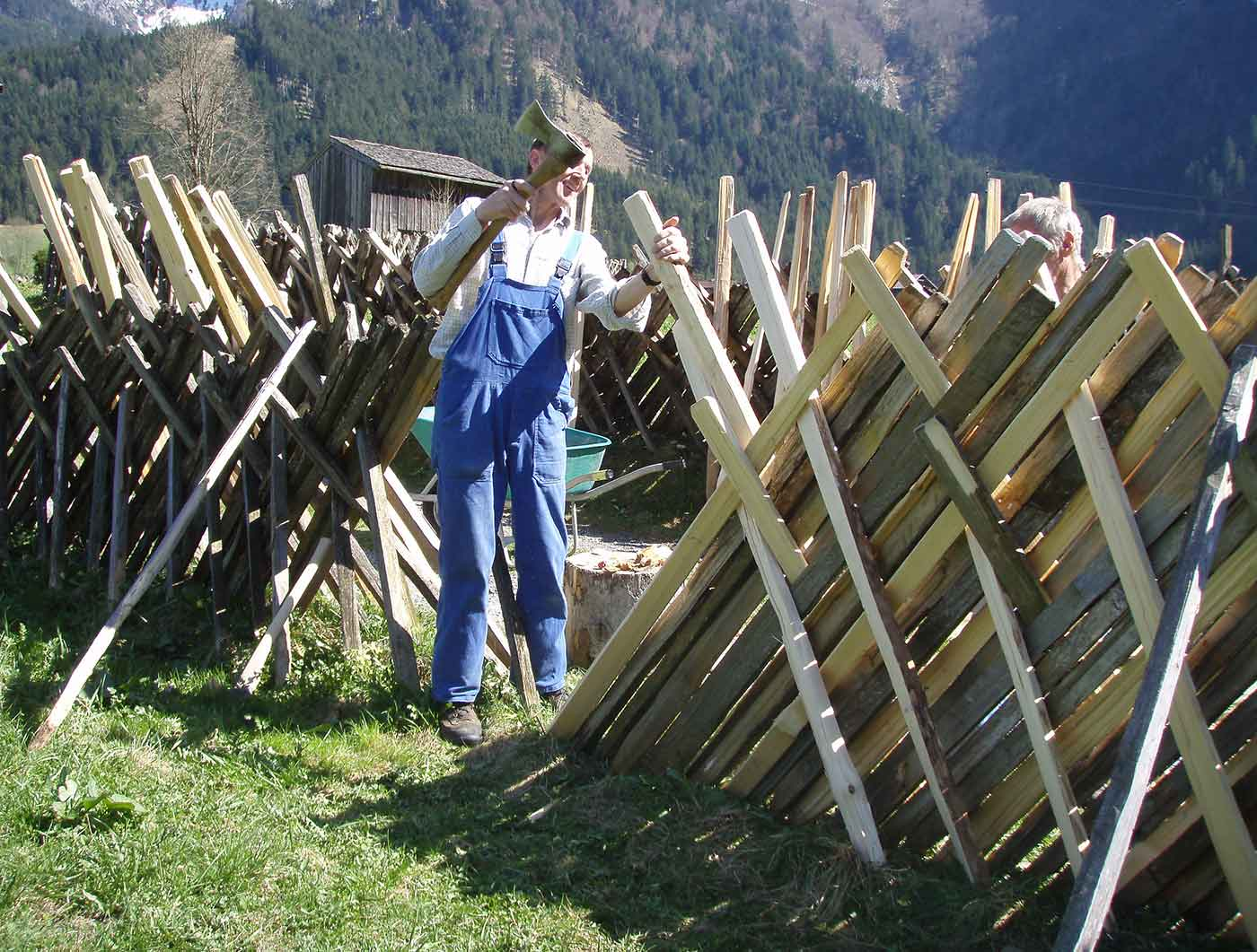 Repair of a traditional pasture fence at the Museum Arlerhof in Abtenau.