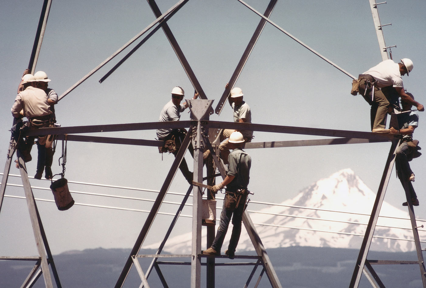 Tower construction on BPA's McNary Alvery line in central Oregon.